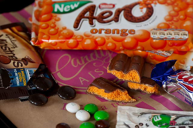 Orange Aeros, minstrels, coconut M&Ms, Baby Ruth