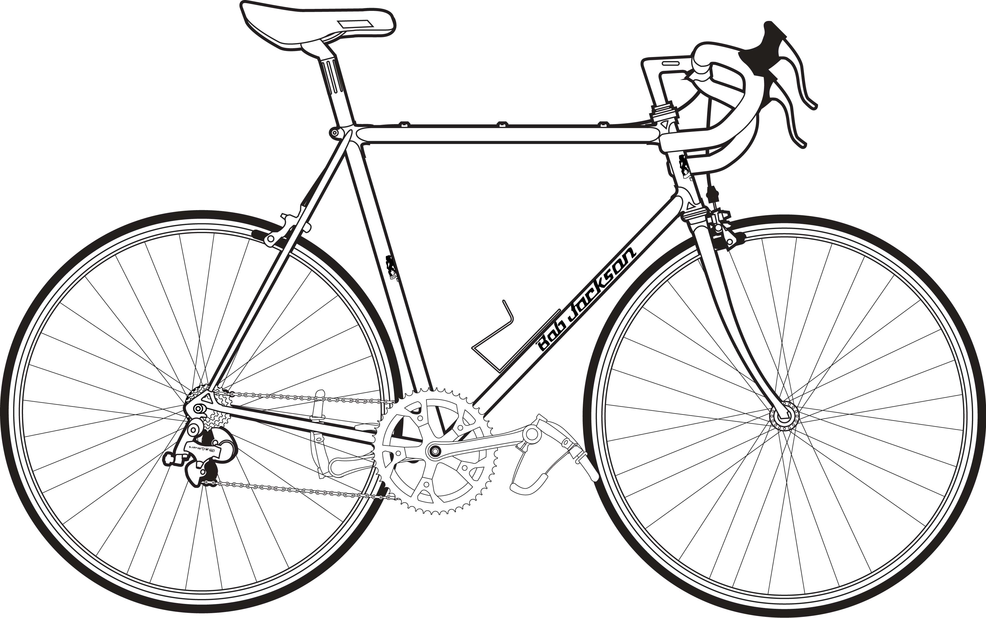 Line Drawing Bike : Road bike bicycle line drawing sketch coloring page