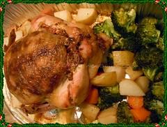 Pollo al horno recién salido...