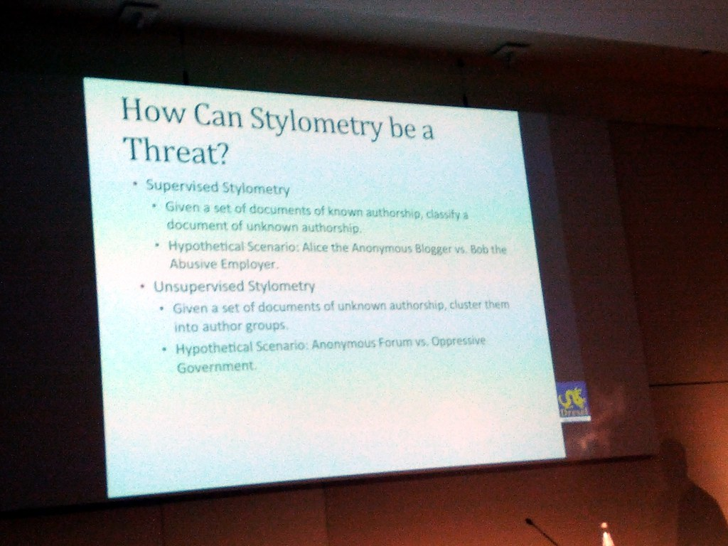 Stylometry threats, slide, Deceiving Authorship Detection talk, 28C3, Berlin, Germany.jpg