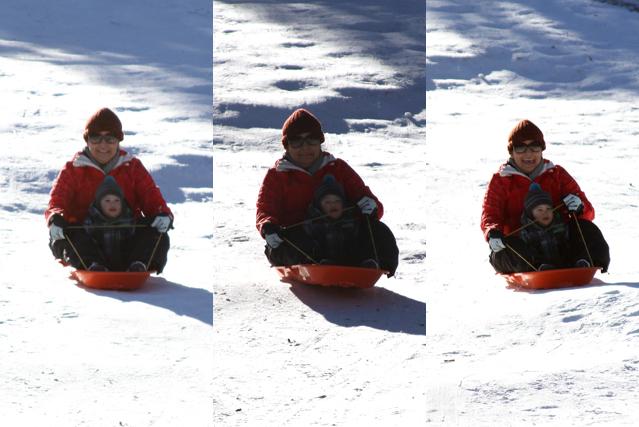 sledding with mama