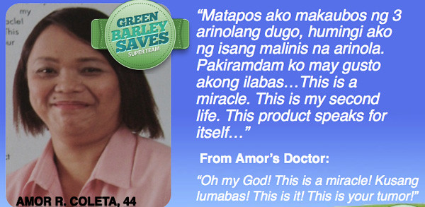 green barley testimonial on cancer of uterus