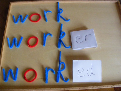 Pipe Cleaner Moveable Alphabet Used for Suffix Work (Photo from Homeschool Escapade)