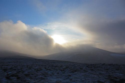winter sun snow clouds sh munro
