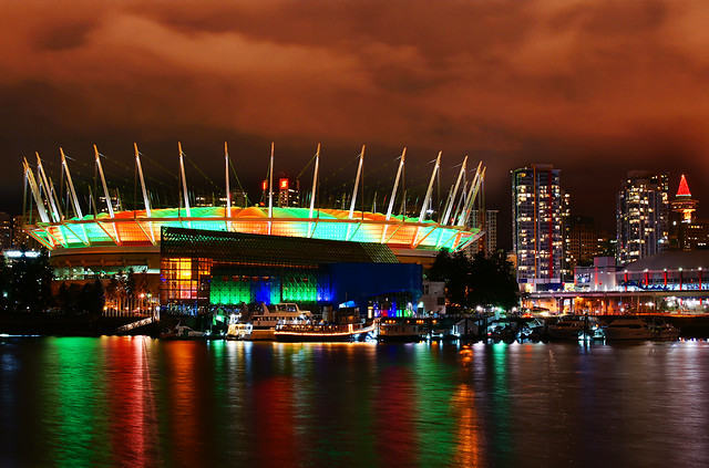 BC Place at Night during Holidays