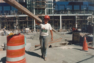 Construction worker at Westlake Center, 1988