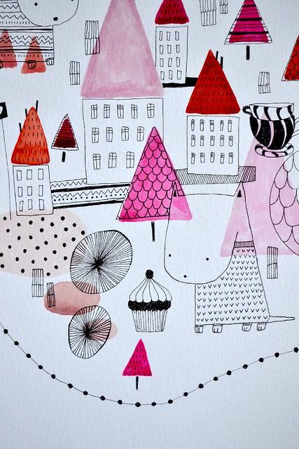 rosa stad detalj