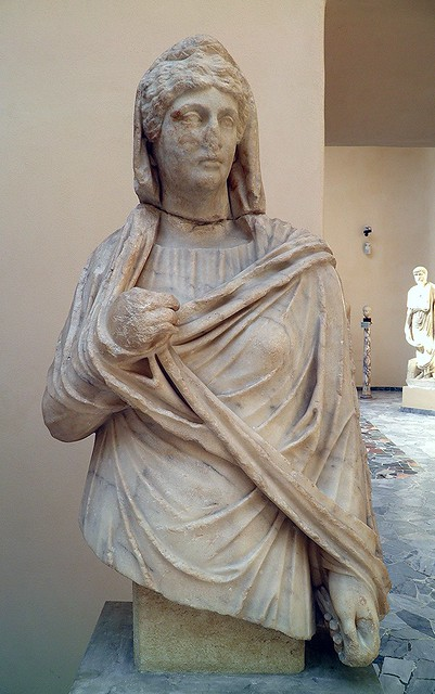 Faustina the Elder (wife of Antoninus Pius), Proconnesian marble, from the horrea (warehouse) of Ortensius, 2nd century AD, Ostia Antica, Italy