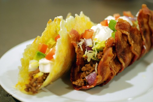 fried cheese and bacon tacos