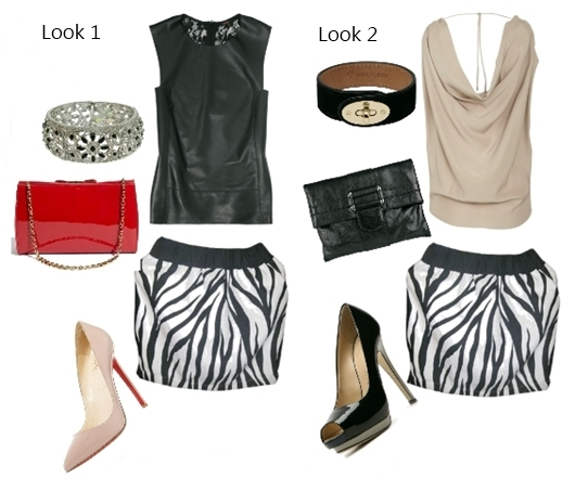 Wear Zebra black and white mini skirt with neutrals