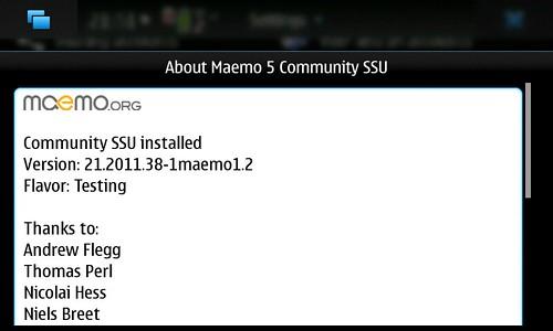 About Maemo5 CSSU Ver.21.2011.38-1maemo1.2