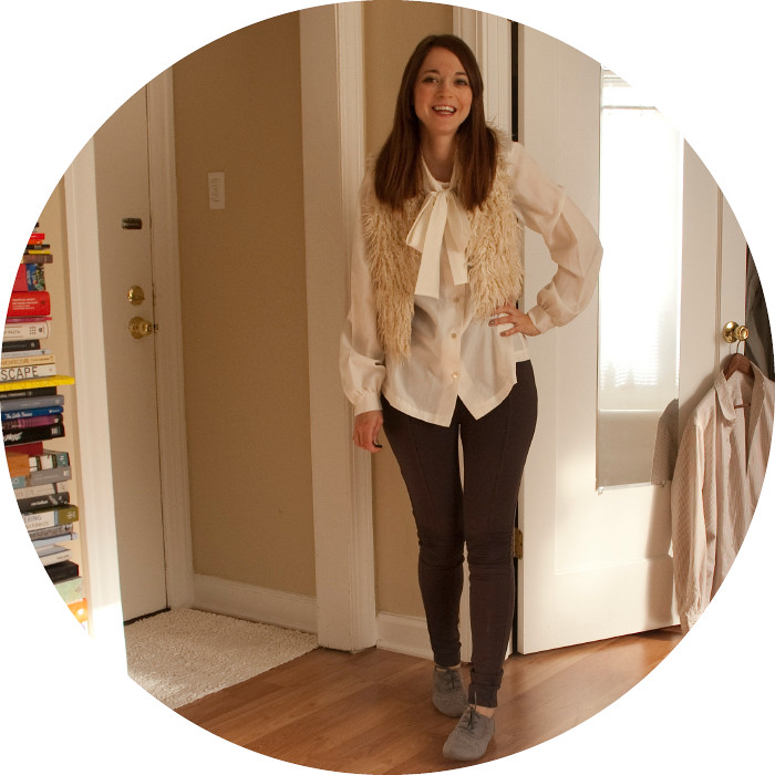 dash dot dotty, outfit blog, creative young professional, armadillo pants, tie-neck blouses, furry vest, oxfords, gray