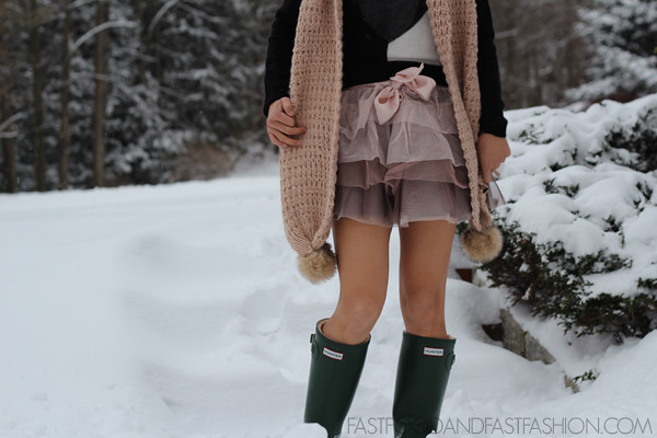 hunter boots tulle skirt