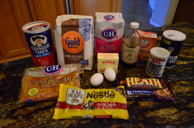 All the ingredients needed for the cookies arranged on a counter top.