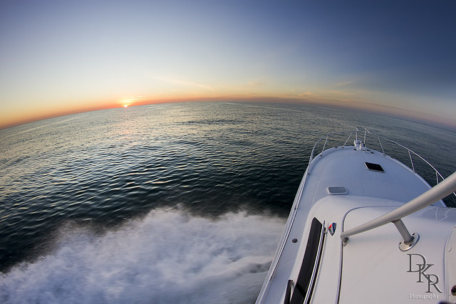 Sunrise off the coast of Florida on a Luhrs 36 convertable sportfisher.