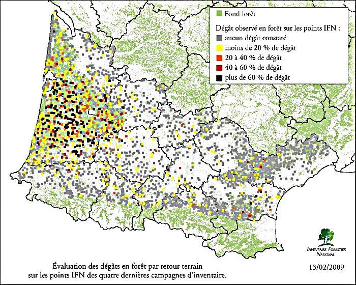 cartographie des dégâts de Klaus sur les plantations forestières météopassion