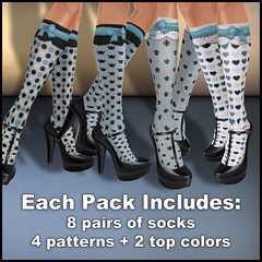 Fashionably Late - Patterned Socks - Light Teals