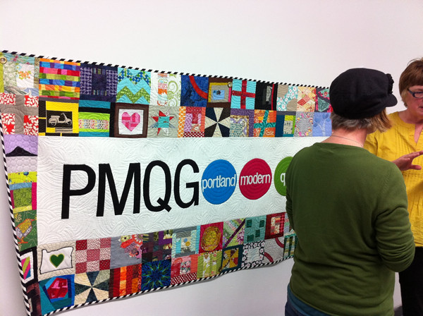 Portland Modern Quilt Guild banner at the January meeting!