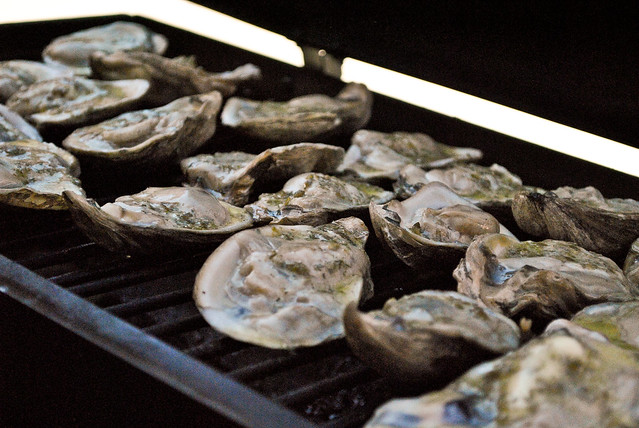 Mesquite Smoked Oysters with Caper Dill Compound