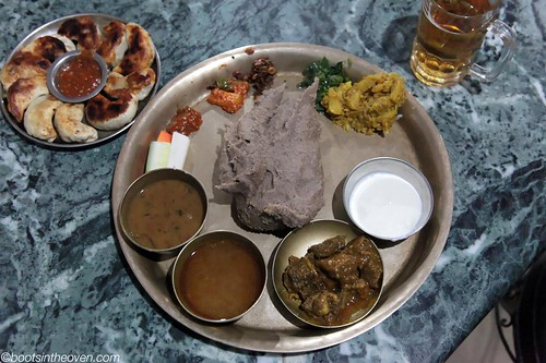 Phhapar ko Dhido (Nepali Thali with buckwheat) and Chicken Kothey (dumplings)