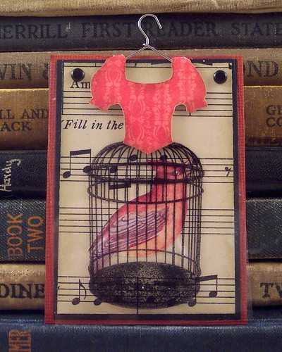 Red Cage Dress Art Card