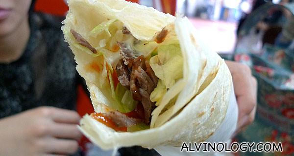 Beef kebab wrap