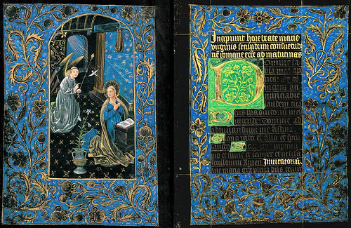 005-Anunciación-Horas de la Virgen-Maitines - The Black Hours-Ms M.493- fols. 22v-23r -© The Morgan Library & Museum