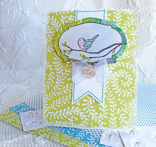 vintage vine & chubby bird card mel stampz