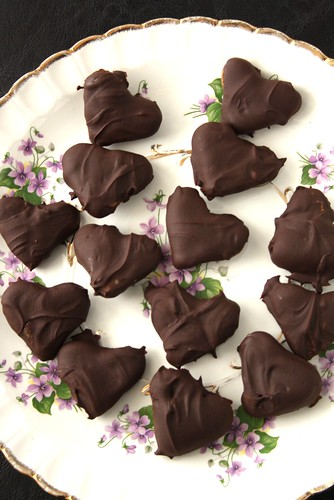 Valentine's Day Dark Chocolate-Covered Heart Caramels