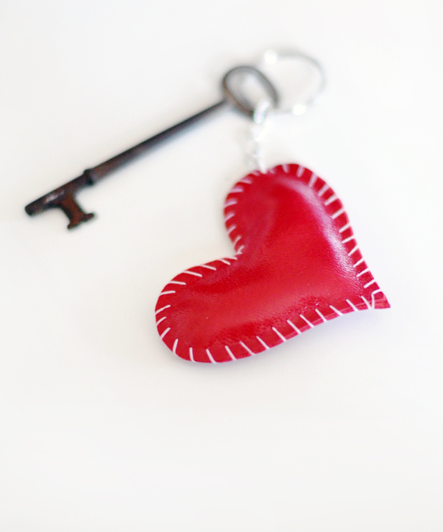 leather heart keychain and  vintage key