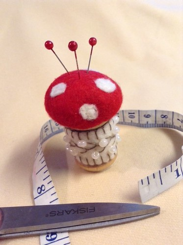 Beaded and Embroidered Vintage Wooden Spool Pincushion
