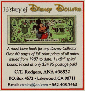 History of Disney Dollars ad