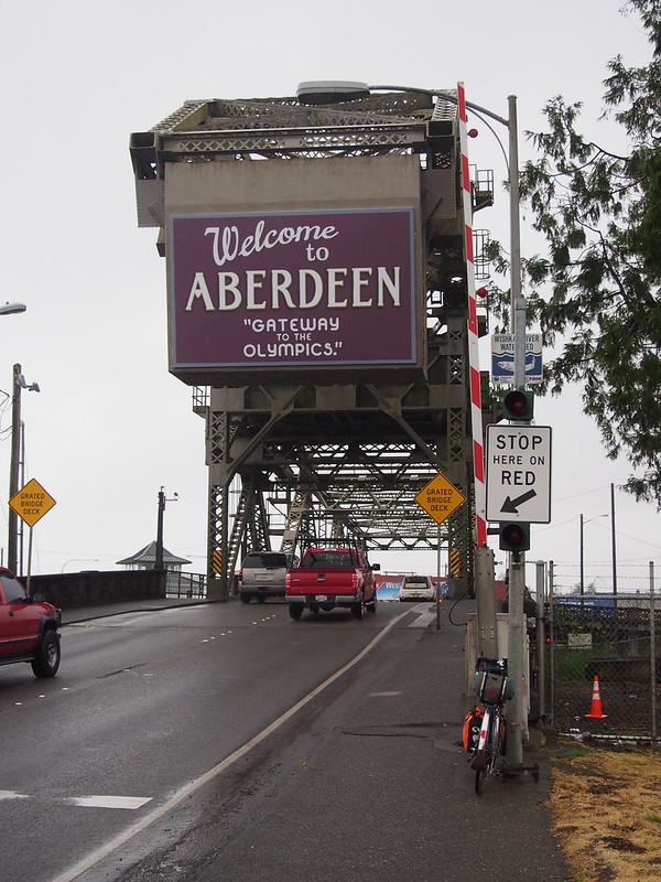 "Wishkah River Bridge: ""Welcome to Aberdeen, 'Gateway to the Olympics.'"""