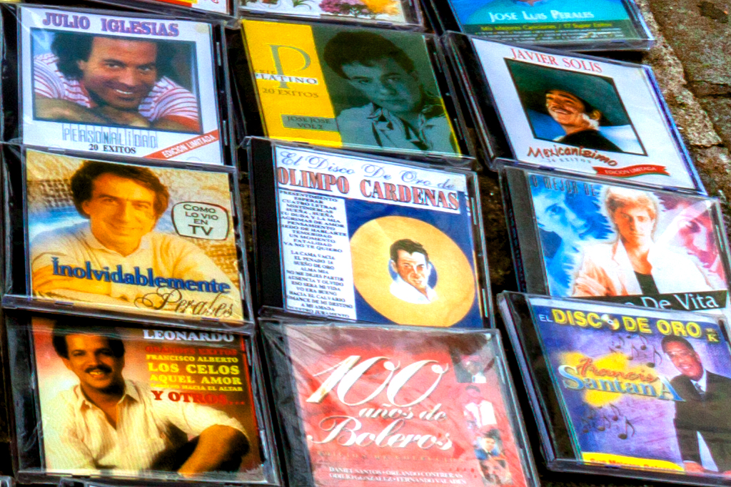 CDs for sale on sidewalk--Washington Heights (detail 3)