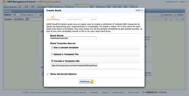 AWS Facebook 앱 템플릿 등록