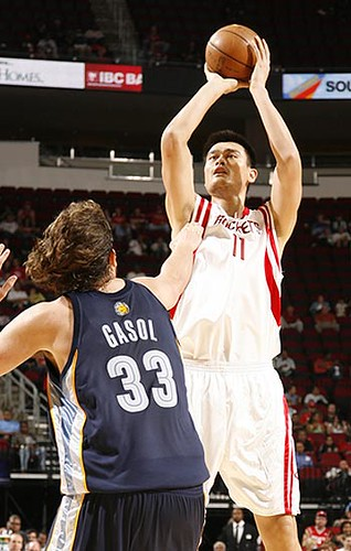 October 7th, 2008 - Yao shoots over Pau Gasol in the Rockets' first preseason game