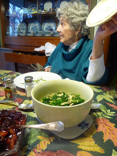 Grandma shows off the spinach
