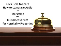 Using audio to promote hotels, restaurants, catering, and other hospitality properties - bell on table