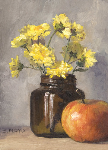 Still Life with Mums and an Apple