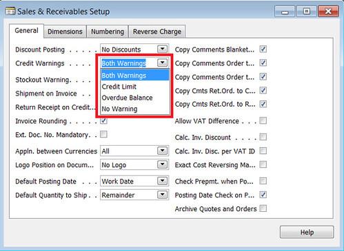 Credit Warnings Field in Sales n Receivables Setup Table