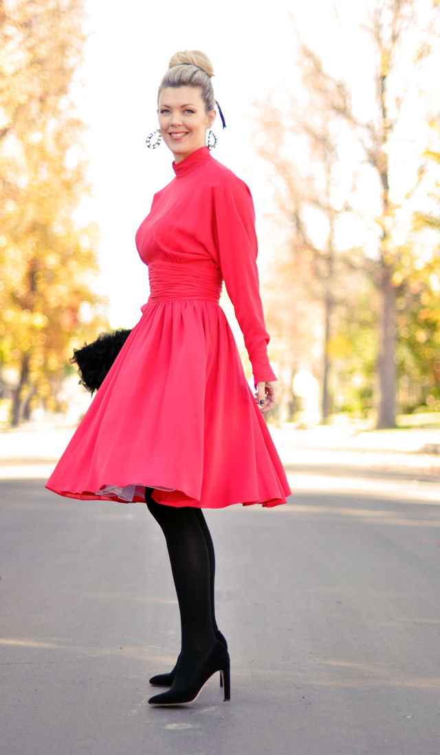 red vintage Karl Lagerfeld dress- black tights and heels-bun