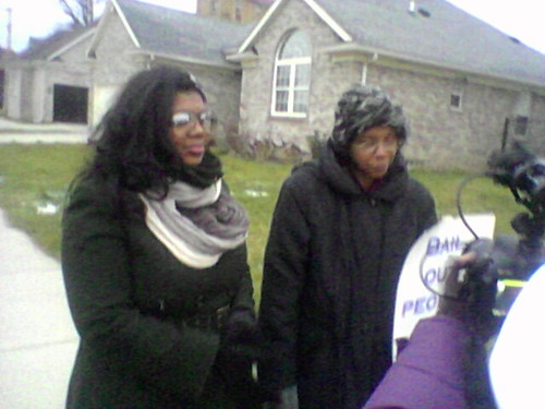 Kyra Williams, left, with her attorney Vanessa Fluker, are waging a struggle to keep the Williams' home which is under threat from CitiMortgage with seizure. After a demonstration the bank says it will not evict. (Photo: Abayomi Azikiwe) by Pan-African News Wire File Photos