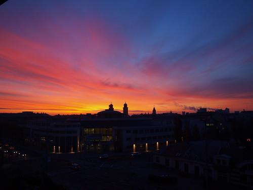 morning sky cloud tibor debrecen magyarország 2011 reggel napfelkelte nagytemplom központ kölcsey kósa