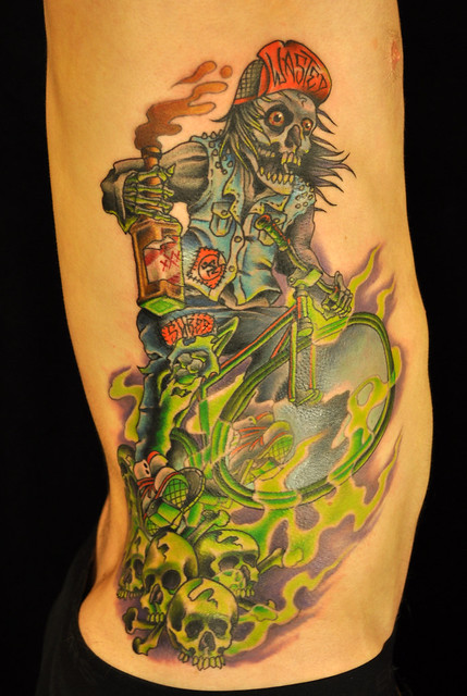 skeleton thrash biker tattoo by Khalil Linane