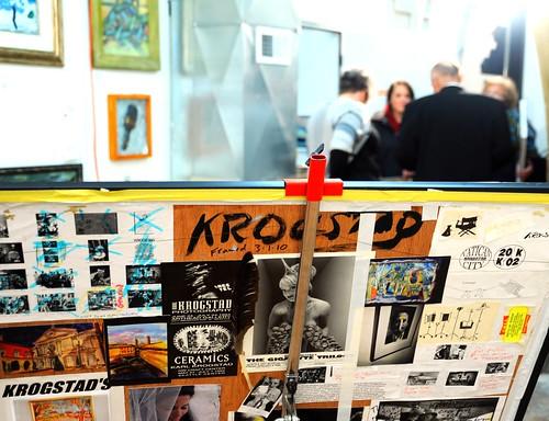Reverse side of painting, patrons, Karl Krogstad, artist, gallery opening, Ballard, Seattle, Washington, USA by Wonderlane