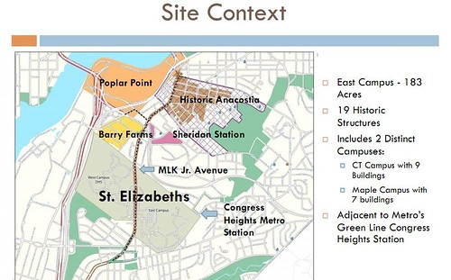 Slide from presentation about the redevelopment of St. Elizabeths East Campus, Washington DC