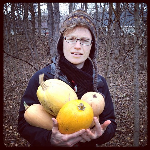 Bizarre collection of abandoned winter squash found along the I&M canal trail with @meppies. There's gotta be a story here.