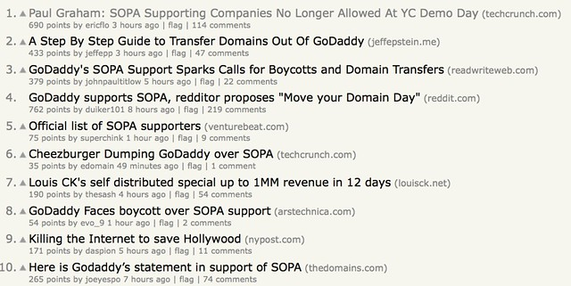 Hacker News with 9 SOPA stories in the top 10