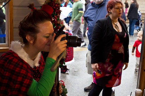 Taking pictures in the Grinch House Studio, Christmas Stroll 2011 Whoovillage