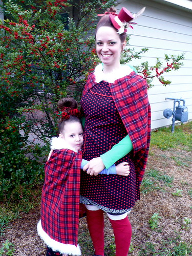 Daisy and I, dressed as Whoos for Whoovillage at the Christmas Stroll, 2011